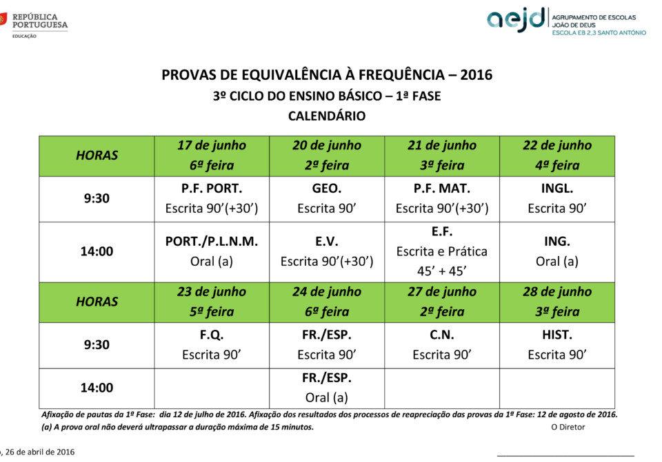 Calendário PEF 3º ciclo - 1ª fase