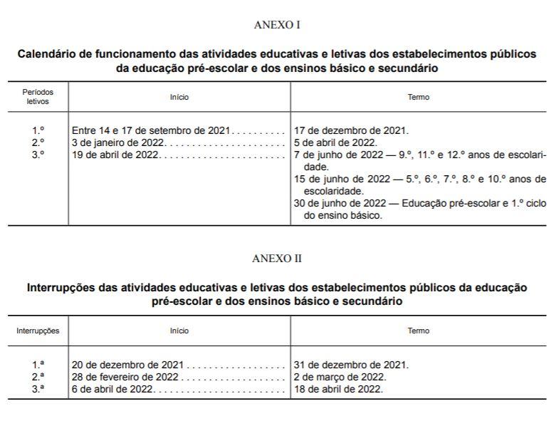 calendário escolar 2021 2022